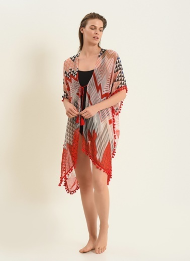 Morhipo Beach Kadın Geometrik Desenli Kimono MBKSS21KI0007 Kırmızı